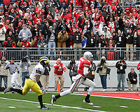 November 22, 2008. Ohio State wide receiver Brian Hartline heads to the endzone on a 53-yard touchdown reception. The Ohio State Buckeyes defeated the Michigan Wolverines 42-7 on November 22, 2008 at Ohio Stadium, Columbus, Ohio.