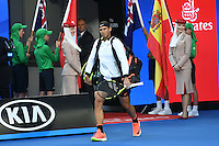 January 29, 2017: Rafael Nadal of Spain enters the court for the Men's Final against Roger Federer of Switzerland on day 14 of the 2017 Australian Open Grand Slam tennis tournament in Melbourne, Australia. Photo Sydney Low