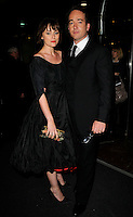 "KEELEY HAWES & MATTHEW MacFADYEN .The ""Frost/Nixon"" World Premiere Afterparty, London Hilton Park Lane, London, England, October 15th 2008..full length black dress pointy shoes fringe clutch bag purse couple.CAP/CAN.©Can Nguyen/Capital Pictures"