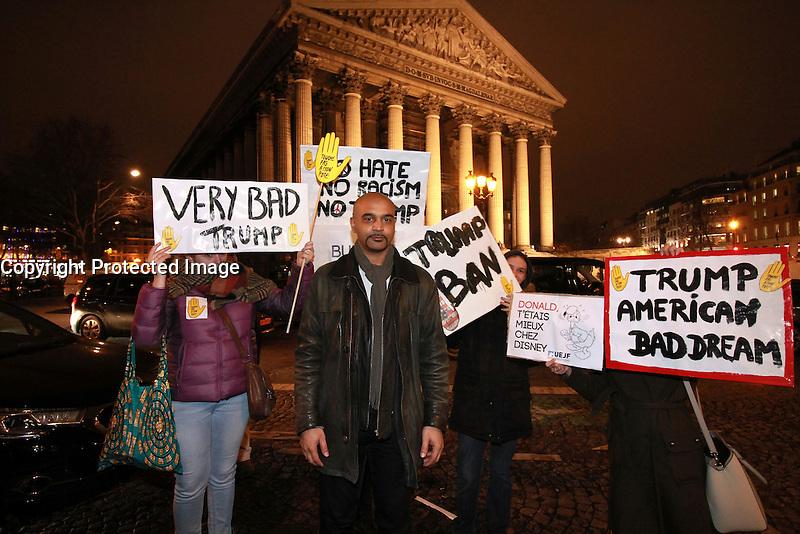 Dominique Sopo, PrÈsident de SOS antiracisme lors du rassemblement anti-Trump Place de la Madeleine ‡ Paris, le 31/01/2017. # MANIFESTATION ANTI-TRUMP A PARIS