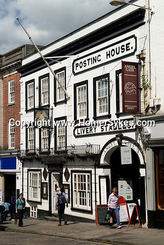 Guildford High Street. Angel Hotel an old coaching inn postiNg House and Livery stables. Surrey Uk.