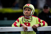 ARCADIA, CA - FEBRUARY 04: Rafael Bejarano after the San Antonio Stakes at Santa Anita Park on February 4, 2017 in Arcadia, California. (Photo by Alex Evers/Eclipse Sportswire/Getty Images)