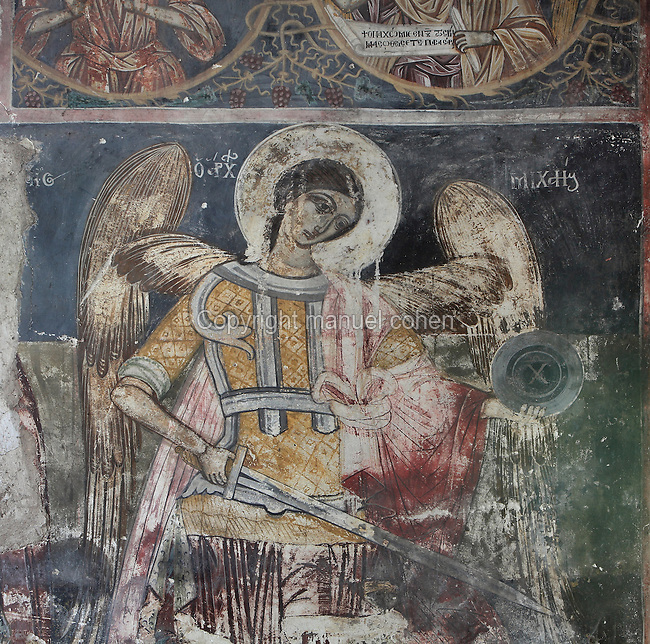 Fresco of an angel holding a sword in the nave of the Dormition of Saint Mary Cathedral Church, or Kisha Katedrale Fjetja e Shen Marise, built 1699, Voskopoje, Korce, Albania. The church contains frescoes by Theodor Anagnost and Sterian from Agrapha in Greece, and the large icons in the iconostasis were painted 1703 by Constantine Lemoronachos. Picture by Manuel Cohen