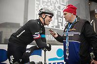 pre-race interview for Ian Stannard (GBR)<br /> <br /> Omloop Het Nieuwsblad 2014