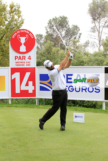 Gonzalo Ganged Onieva (ESP) on the 14th tee during Round 1 of the Open de Espana  in Club de Golf el Prat, Barcelona on Thursday 14th May 2015.<br /> Picture:  Thos Caffrey / www.golffile.ie