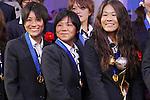 (L to R) Yukari Kinga (JPN), Shinobu Ono (JPN), Homare Sawa (JPN), DECEMBER 27, 2011 - Football / Soccer : Yukari Kinga, Shinobu Ono and Homare Sawa of Japan attend Celebration party for FIFA Women's World Cup Champion at Tokyo Dome City in Tokyo, Japan. (Photo by Yusuke Nakanishi/AFLO SPORT) [1090]