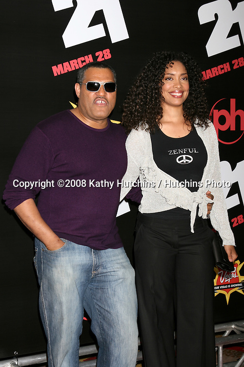"""Laurence Fisbourne & Gina Torres.""""21"""" Premiere.Planet Hollywood Hotel & Casino.Las Vegas, NV.Match 12.2008.©2008 Kathy Hutchins / Hutchins Photo...."""