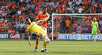 Fleetwood Town's Ched Evans shields the ball from Blackpool's Curtis Tilt<br /> <br /> Photographer Stephen White/CameraSport<br /> <br /> The EFL Sky Bet League One - Blackpool v Fleetwood Town - Monday 22nd April 2019 - Bloomfield Road - Blackpool<br /> <br /> World Copyright © 2019 CameraSport. All rights reserved. 43 Linden Ave. Countesthorpe. Leicester. England. LE8 5PG - Tel: +44 (0) 116 277 4147 - admin@camerasport.com - www.camerasport.com