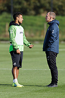 Wayne Routledge of Swansea City speaks with Steve Cooper Head Coach of Swansea City during the Swansea City Training Session at The Fairwood Training Ground in Swansea, Wales, UK. Wednesday 16 October 2019