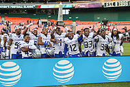 Washington, DC - September 16, 2016: Hampton Pirates players celebrates after the game between Hampton and Howard at  RFK Stadium in Washington, DC. September 16, 2016.  (Photo by Elliott Brown/Media Images International)