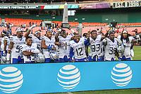 Washington, DC - September 16, 2016: Hampton Pirates players celebrates after the game between Hampton and Howard at  RFK Stadium in Washington, DC. September 16, 2016.  (Photo by Elliott Brown/Media Images International)
