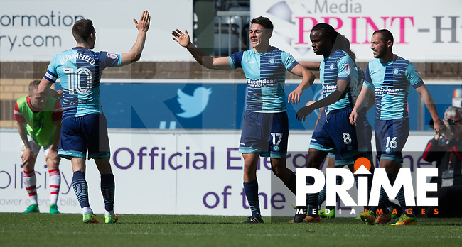 Luke O'Nien of Wycombe Wanderers celebrates his second goal during the Sky Bet League 2 match between Wycombe Wanderers and Doncaster Rovers at Adams Park, High Wycombe, England on 22 April 2017. Photo by James Williamson / PRiME Media Images.