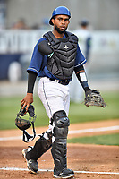 Asheville Tourists catcher Hedekel Gonzalez (15) during a game against the Columbia Fireflies at McCormick Field on April 14, 2018 in Asheville, North Carolina. The Fireflies defeated the Tourists 7-6. (Tony Farlow/Four Seam Images)
