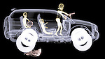 X-ray image of a road rage soccer mom (color on black) by Jim Wehtje, specialist in x-ray art and design images.