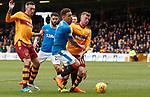 31.3.2018: Motherwell v Rangers: <br /> James Tavernier fouled by Elliott Frear for a penalty kick to Rangers