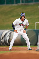 Fort Myers Miracle right fielder Chad Christensen (9) leads off first during a game against the Brevard County Manatees on April 13, 2016 at Hammond Stadium in Fort Myers, Florida.  Fort Myers defeated Brevard County 3-0.  (Mike Janes/Four Seam Images)