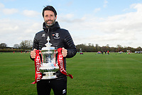 Lincoln City manager Danny Cowley with the Emirates FA Cup at Lincoln City's new Elite Performance Centre<br /> <br /> Photographer Chris Vaughan/CameraSport<br /> <br /> The official opening of Lincoln City's new Elite Performance Centre - Wednesday 7th November 2018 - Scampton, Lincolnshire<br /> <br /> World Copyright © 2018 CameraSport. All rights reserved. 43 Linden Ave. Countesthorpe. Leicester. England. LE8 5PG - Tel: +44 (0) 116 277 4147 - admin@camerasport.com - www.camerasport.com