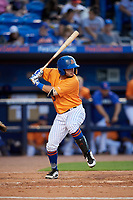 St. Lucie Mets third baseman Michael Paez (5) at bat during a game against the Daytona Tortugas on August 3, 2018 at First Data Field in Port St. Lucie, Florida.  Daytona defeated St. Lucie 3-2.  (Mike Janes/Four Seam Images)