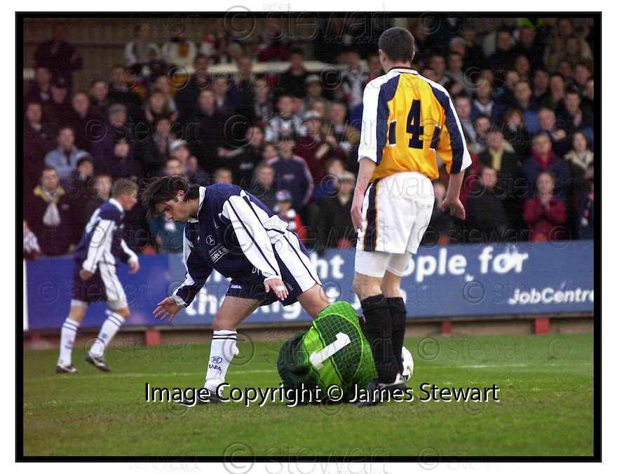 20th November 1999                 Copyright Pic : James Stewart .Ref :                           .File Name : stewart01-falkirk v dunfermline                        .IAN WESTWATER SAVES AT THE FEET OF COLIN MCDONALD.....Payments to :-.James Stewart Photo Agency, Stewart House, Stewart Road, Falkirk. FK2 7AS      Vat Reg No. 607 6932 25.Office : +44 (0) 1324 630007        Mobile : 07721 416997.Fax     : +44 (0) 1324 630007.E-mail : jim@jspa.co.uk.If you require further information then contact Jim Stewart on any of the numbers above.........