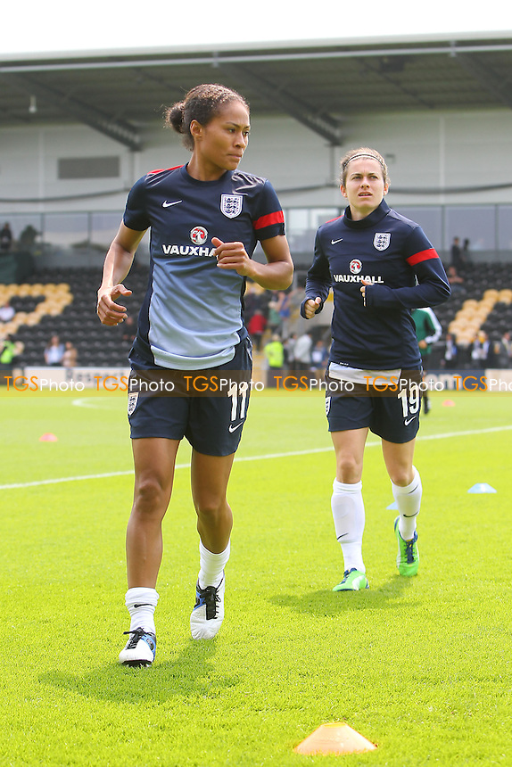 Rachel Yankey of England ahead of kick-off - England Women vs Japan Women - Friendly Football International at the Pirelli Stadium, Burton Albion FC - 26/06/13 - MANDATORY CREDIT: Gavin Ellis/TGSPHOTO - Self billing applies where appropriate - 0845 094 6026 - contact@tgsphoto.co.uk - NO UNPAID USE