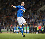 St Johnstone v FC Luzern...24.07.14  Europa League 2nd Round Qualifier<br /> Dave Mackay celebrates his penalty<br /> Picture by Graeme Hart.<br /> Copyright Perthshire Picture Agency<br /> Tel: 01738 623350  Mobile: 07990 594431