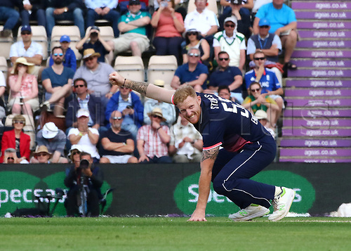 May 27th 2017, Ageas Bowl, Southampton, Hampshire, England, One Day Cricket International England versus South Africa; Ben Stokes of England reacts after narrowly missing a catch off his bowling