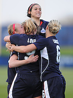 Washington Freedom defender Becky Sauerbrunn (22) celebrates with team mates after scoring  the team firts WPS goal in the 54th minute of the game. Washington Freedom tied Chicago Red Stars 1-1   at The Maryland SoccerPlex, Saturday April 11, 2009.