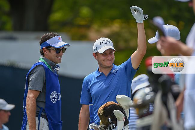 Emiliano Grillo (ARG) shares a laugh on the tee on 16 during 1st round of the 100th PGA Championship at Bellerive Country Club, St. Louis, Missouri. 8/9/2018.<br /> Picture: Golffile | Ken Murray<br /> <br /> All photo usage must carry mandatory copyright credit (© Golffile | Ken Murray)