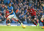 07.04.2018 Rangers v Dundee:<br /> Alfredo Morelos beats Genseric Kusunga and lays the ball offf to Jamie Murphy and is expecting a 1-2 pass but Murphy scores much to his dismay