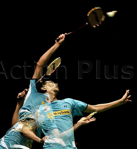 21.05.2012. Wuhan, China.  This Multi exposure Picture Shows that Malaysia s Lee Chong Wei Returns A Shot to South Africa s Jacob  during The Thomas Cup World Badminton team Championships in Wuhan Central China s Hubei Province ON May 21 2012 Malaysia Beat South Africa 5 0