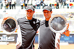 Bob Bryan and  Mike Bryan during ATP Doubles Final at Madrid Mutua Madrilena Tennis Open on May 8, 2011...Photo: Alex Cid-Fuentes / ALFAQUI..