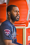 22 June 2014: Atlanta Braves right fielder Jason Heyward in the dugout during a game against the Washington Nationals at Nationals Park in Washington, DC. The Nationals defeated the Braves 4-1 to split their 4-game series and take sole possession of first place in the NL East. Mandatory Credit: Ed Wolfstein Photo *** RAW (NEF) Image File Available ***