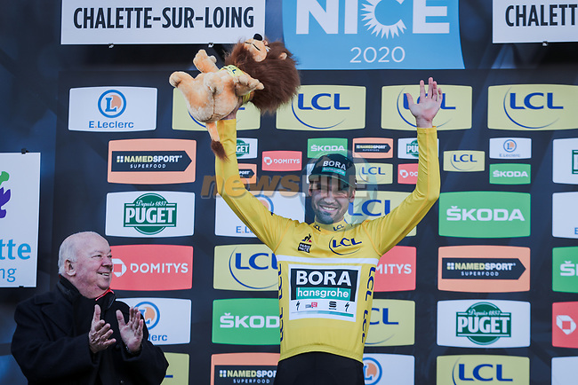 Race leader Maximilian Schachmann (GER) Bora-Hansgrohe retains the Yellow Jersey on the podium at the end of Stage 2 of the 78th edition of Paris-Nice 2020, running 166.5km form Chevreuse to Chalette-sur-Loing, France. 9th March 2020.<br /> Picture: ASO/Fabien Boukla | Cyclefile<br /> All photos usage must carry mandatory copyright credit (© Cyclefile | ASO/Fabien Boukla)