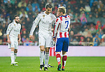 Real Madrid portuguese Foward Cristiano Ronaldo and Atletico de Madrid french foward Antoine Griezmann during the king´s cup football match with Atletico de Madrid vs Real Madrid at the Santiago Bernabeu stadium in Madrid on Jaunary 15, 2015. Samuel de Roman / Photocall3000.