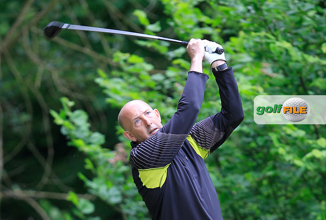 Tony McClements (Holywood) on the 18th tee during Round 3 of the Irish Mid-Amateur Open Championship at New Forest on Sunday 21st June 2015.<br /> Picture:  Thos Caffrey / www.golffile.ie