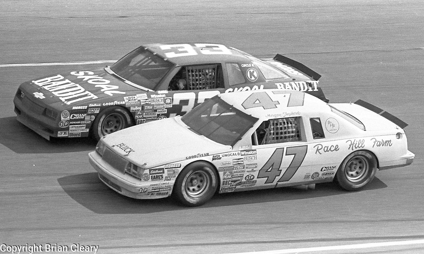 Morgan Shepherd (47) 1st place winner Harry Gant (33) 12 th place  Motorcraft 500 at Atlanta International Raceway in Hampton, GA on March 16, 1986.   (Photo by Brian Cleary/www.bcpix.com)