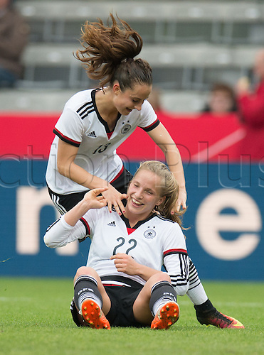 25.10.2016. Aeln, Germany.  Germany's Tabea Kemme (BELOW) celebrates her goal with Sara Daebrit during the women's international football match between Germany and the Netherlands in the Scholz Arena in Aalen, Germany, 25 October 2016.