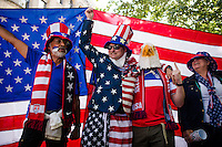 Seattle, WA - Thursday, June 16, 2016: USA fans outside gather for the Quarterfinal of the 2016 Copa America Centenrio match between USA and Ecuador.