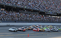 Oct 5, 2008; Talladega, AL, USA; NASCAR Sprint Cup Series driver Dale Earnhardt Jr leads the field during the Amp Energy 500 at the Talladega Superspeedway. Mandatory Credit: Mark J. Rebilas-