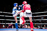 Ieong Pan (Red) of Macau fights against Yeung Wai Lun (Blue) of Hong Kong in the male muay 51KG division weight bout during the East Asian Muaythai Championships 2017 at the Queen Elizabeth Stadium on 13 August 2017, in Hong Kong, China. Photo by Yu Chun Christopher Wong / Power Sport Images