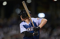 Zack Collins (8) of the Charlotte Knights at bat against the Indianapolis Indians at BB&T BallPark on April 27, 2019 in Charlotte, North Carolina. The Indians defeated the Knights 8-4. (Brian Westerholt/Four Seam Images)