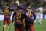 FC Barcelona's Leo Messi (l) and Neymar Jr celebrate goal during La Liga match. March 3,2016. (ALTERPHOTOS/Acero)
