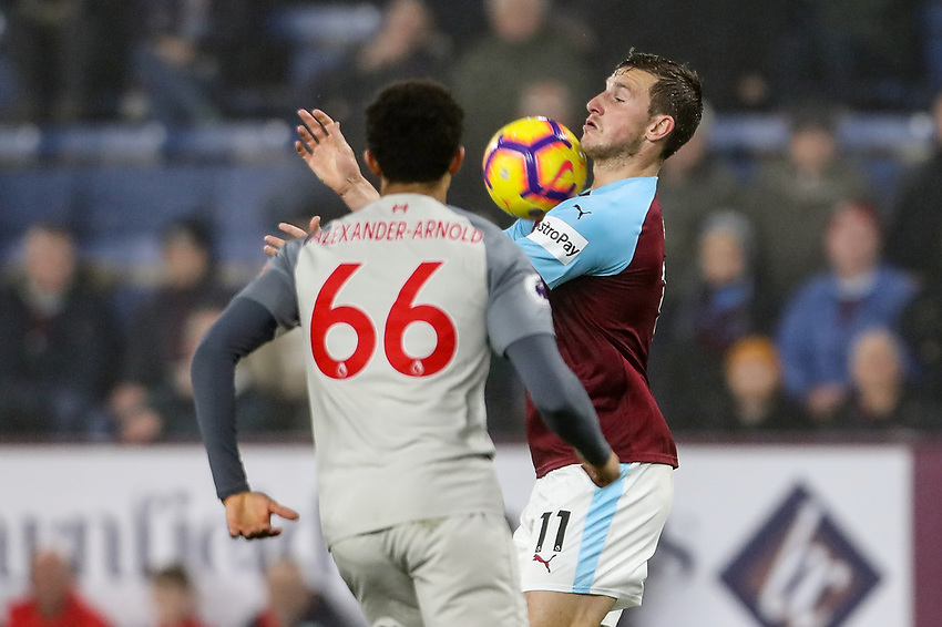 Burnley's Chris Wood competing with Liverpool's Trent Alexander-Arnold<br /> <br /> Photographer Andrew Kearns/CameraSport<br /> <br /> The Premier League - Burnley v Liverpool - Wednesday 5th December 2018 - Turf Moor - Burnley<br /> <br /> World Copyright © 2018 CameraSport. All rights reserved. 43 Linden Ave. Countesthorpe. Leicester. England. LE8 5PG - Tel: +44 (0) 116 277 4147 - admin@camerasport.com - www.camerasport.com