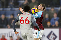 Burnley's Chris Wood competing with Liverpool's Trent Alexander-Arnold<br /> <br /> Photographer Andrew Kearns/CameraSport<br /> <br /> The Premier League - Burnley v Liverpool - Wednesday 5th December 2018 - Turf Moor - Burnley<br /> <br /> World Copyright &copy; 2018 CameraSport. All rights reserved. 43 Linden Ave. Countesthorpe. Leicester. England. LE8 5PG - Tel: +44 (0) 116 277 4147 - admin@camerasport.com - www.camerasport.com