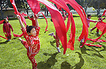 Chinese dancers #03/CMYKoPV Wk 11/2004.Stacey Dojiri reheases the ribbon dance.  Photo:Tom Underhill