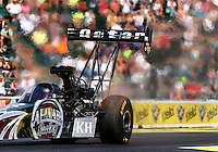 Aug. 1, 2014; Kent, WA, USA; NHRA top fuel dragster driver Shawn Langdon during qualifying for the Northwest Nationals at Pacific Raceways. Mandatory Credit: Mark J. Rebilas-USA TODAY Sports