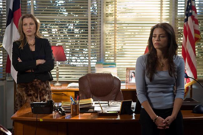 Tatum O'Neal as Principal Lorene Tippit and Jenna Dewan as Emma Carr in the Lifetime Original Movie 'Fab Five: The Texas Cheerleader Scandal.'
