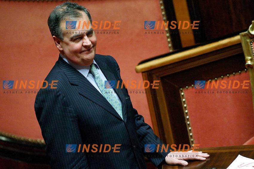 Roberto Calderoli .Roma 01/03/2012 Senato. Discussione sul DDL Liberalizzazioni. .Photo Samantha Zucchi Insidefoto