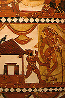 India: Indian Females Shiva Begging Shikshat-Anamurti (?). Ceiling of sanctuary of Shiva Temple at Chidambaram consecrated to the Goddess Sivaka-Masundari. Is she the great figure? The Nayak period.