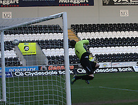 Graham Bowman unable to save the shot from Kenny McLean in the St Mirren v Falkirk Clydesdale Bank Scottish Premier League Under 20 match played at St Mirren Park, Paisley on 30.4.13.